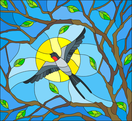 Illustration in stained glass style on the theme of spring, the swallow flying on the background of Sunny sky through the lumen of the branches of a tree