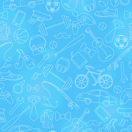 Seamless pattern on the theme of male Hobbies and habits,simple hand-drawn white contour icons on blue background Illustration