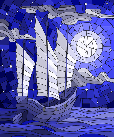 Illustration in stained glass style the Eastern ship with white sails on the background of sky, sun and ocean, blue tone Illustration
