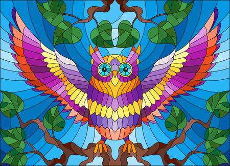 Illustration in stained glass style with fabulous colourful owl sitting on a tree branch against the sky 向量圖像