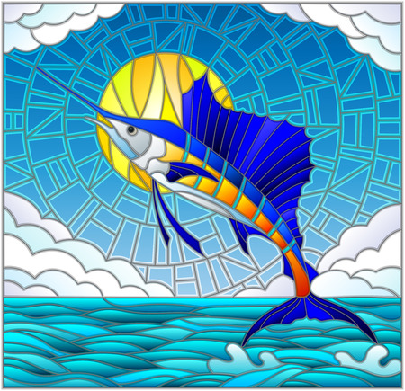 Illustration in stained glass style with a fish sailboat on the background of water ,cloud, sky and sun