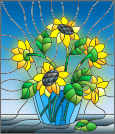 Illustration In Stained Glass Style With Bouquets Of Sunflowers