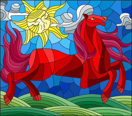 Illustration in stained glass style with fabulous red horse galloping on the green meadow on the background of the cloudy sky and sun Çizim