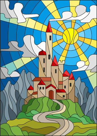 Illustration in stained glass style landscape with old castle on the background of sky, sun and mountains