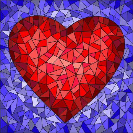Illustrazione in stile di vetro macchiato con cuore rosso su sfondo blu Archivio Fotografico - 72659681