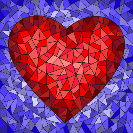 Illustration in stained glass style with red heart on blue background Illustration