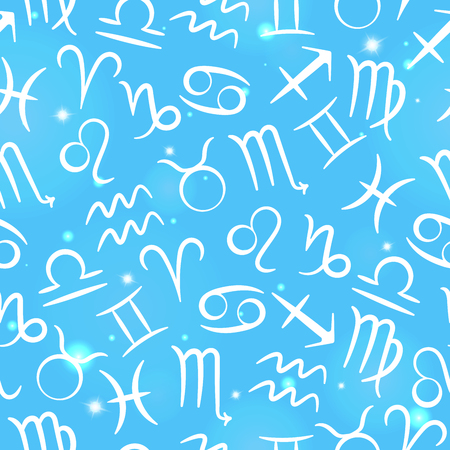 Seamless pattern with zodiac signs on the starry blue sky
