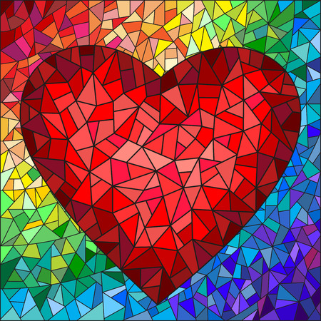 Illustratie in gebrandschilderd glasstijl met rood hart op de regenboog op de achtergrond