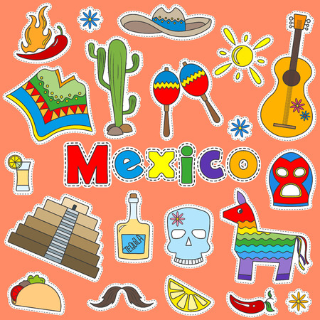 Illustration with a set of icons patches on the theme of travel in Mexico Vettoriali