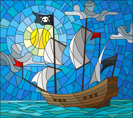 Illustration in stained glass style with a pirate ship in the sun, a cloudy sky and ocean Illustration