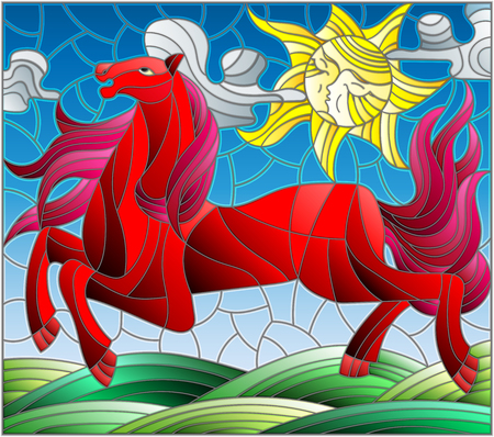 Illustration in stained glass style with fabulous red horse galloping on the green meadow on the background of the cloudy sky and sun Illustration