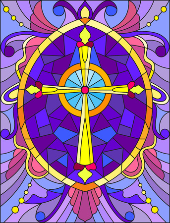 Illustration in stained glass style with a yellow cross on a purple background with patterns and swirls