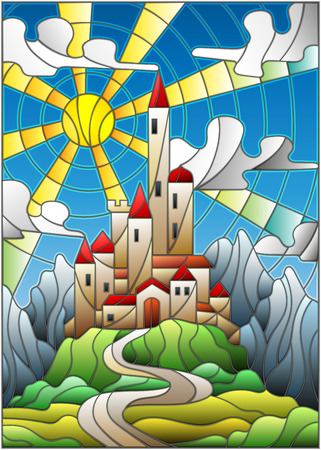 Illustration in stained glass style landscape with old castle on the background.