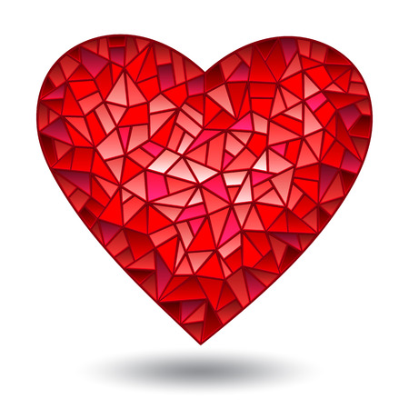 Illustration with glass red heart, isolated on white background Illustration