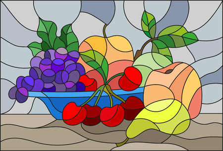 Illustration in stained glass style with still life, fruits and berries in blue bowl