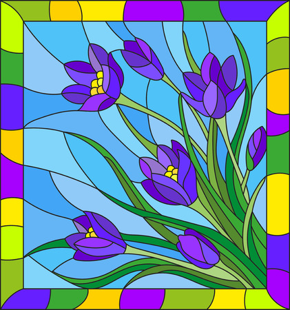 Illustration in stained blue glass style with bouquet of violet crocuses  on a blue background in the frame.