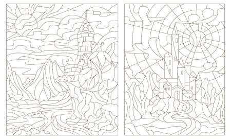 Set contour illustration of stained glass of landscapes with ancient castles Illustration