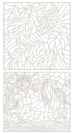 Set contour illustration of stained glass with abstract horses