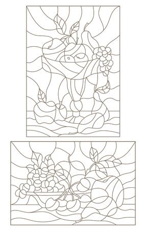 果物、静物静止画とステンド グラスの輪郭のイラストを設定します。