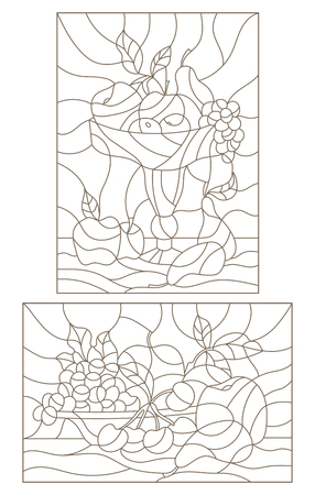 Set contour illustrations of stained glass with fruit, still lifes