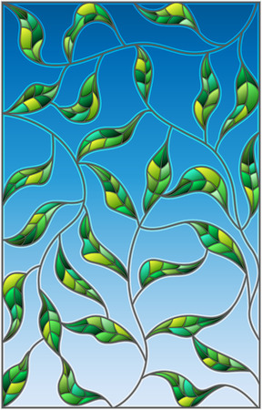 unobtrusive: Illustration in the style of stained glass with green leaves  on a sky  background
