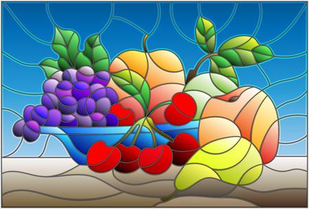 Illustration in der Buntglasart mit Stillleben, Früchten und Beeren in der blauen Schüssel