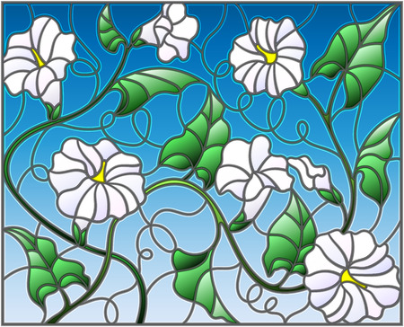 Illustration in stained glass style flowers loach, white flowers and leaves on blue background