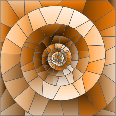 Abstract mosaic image,  tiles arranged in a spiral,brown tone, Sepia