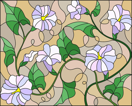Illustration in stained glass style flowers loach, light flowers and leaves on beige background