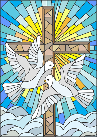 Illustration with a cross and a pair of white doves in the stained glass style 矢量图像