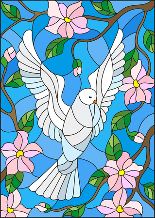 Illustration in stained glass style with a white dove on background of blue sky and flowering tree branches