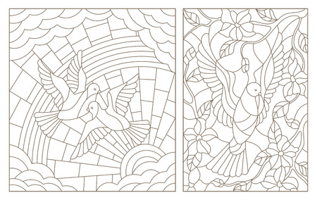 Set contour illustrations of the stained glass Windows with doves
