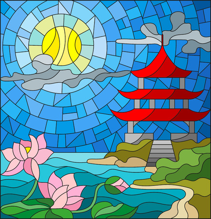 stained glass church: Illustration in stained glass style with Oriental landscape, the Eastern Church.