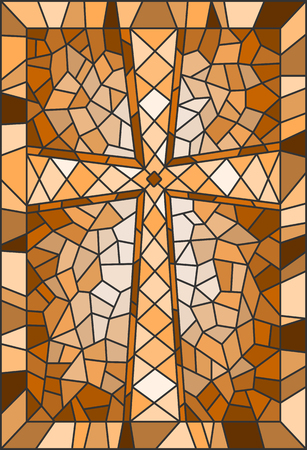 Illustration in stained glass style with a cross, in brown tones Illustration