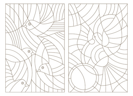 Set contour illustrations of stained glass with birds