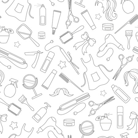 Seamless pattern on the theme of the Barber shop, the tools and accessories. Illustration