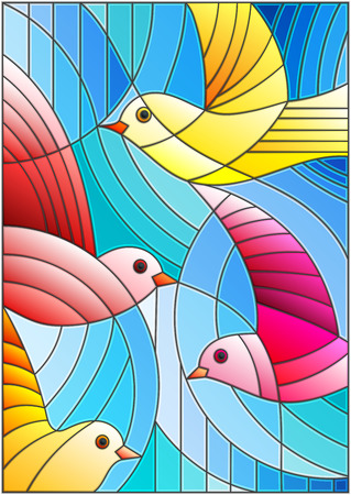 Illustration in stained glass style with bright abstract birds on a blue background