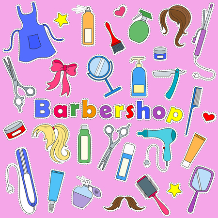 Set on a theme Barber shop, tools, and accessories of Barber, colored patches icons on pink background Illustration