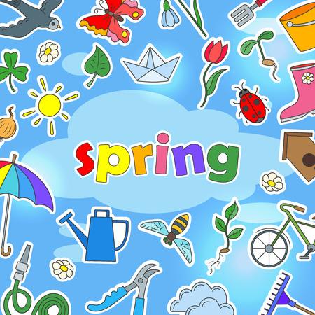 De achtergrond op het thema van lentetijd, pictogrammen, stickers op gewonnen blauw en de inschrijvingslente