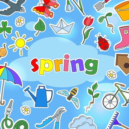 The background image on the theme of spring season, icons, stickers on blue won and inscription spring Ilustracja