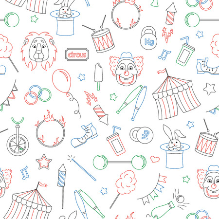 Seamless pattern on the theme of circus, contour icons are drawn with colored markers on white background
