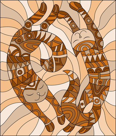 Illustration in the style of stained glass with pair of abstract  cats ,brown tone , Sepia Illustration