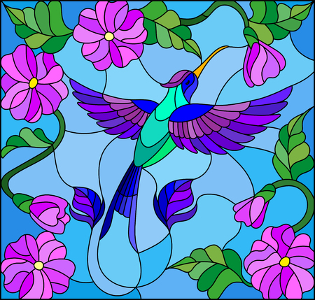 Illustration in stained glass style with colorful Hummingbird on background of the sky ,greenery and flowers Ilustracja