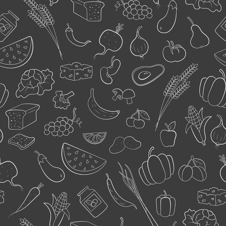 Seamless pattern on the theme of vegetarianism, grocery icons, simple outline white icons on a dark background