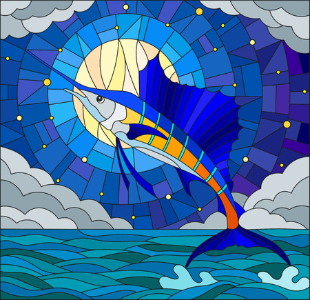 Illustration in stained glass style with a fish sailboat on the background of water ,cloud, sky ,star and moon