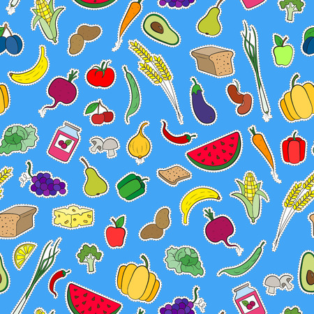 Seamless background on the topic of vegetarianism, simple icons, food signs patches on a blue  background Иллюстрация