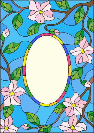 Illustration in stained glass style abstract frame with branches of a flowering plant on a blue background Illustration