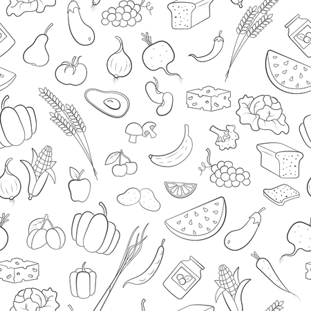 Seamless pattern on the theme of vegetarianism, grocery icons, simple outline black icons on a white background