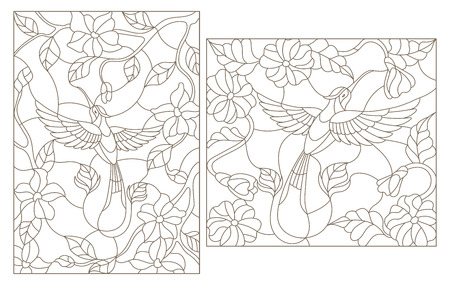 The illustrations in the stained glass style Hummingbird on a background of flowers and leaves
