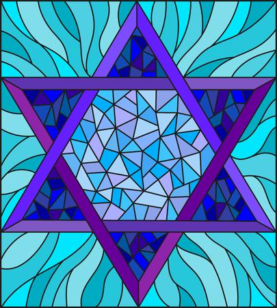 Illustrazione nello stile di vetro macchiato con una stella blu a sei punte astratta su una priorità bassa blu